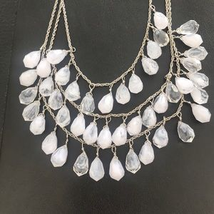 Jewelry - 3 Strand BIG Silver Necklace white & Crystal Drops